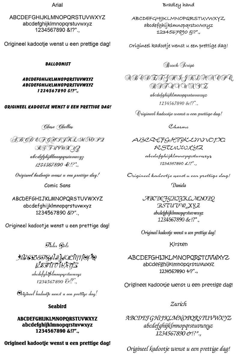 Deze lettertypen kunt u laten graveren